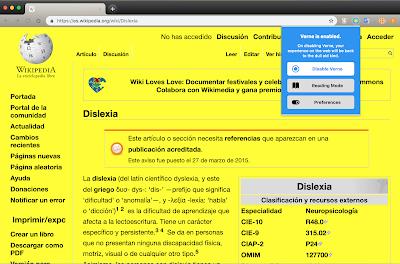 Verne: extensión de Chrome que facilita la lectura